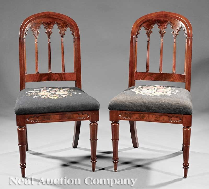 0024: A Pair of American Gothic Carved Mahogany Side Ch