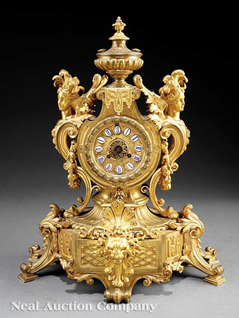 0097: Renaissance Revival Gilt Bronze Mantel Clock
