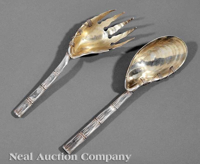 0397: Gorham Sterling Silver Salad Serving Fork & Spoon