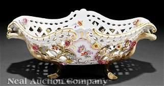0497: Meissen Porcelain Polychrome & Gilt Basket