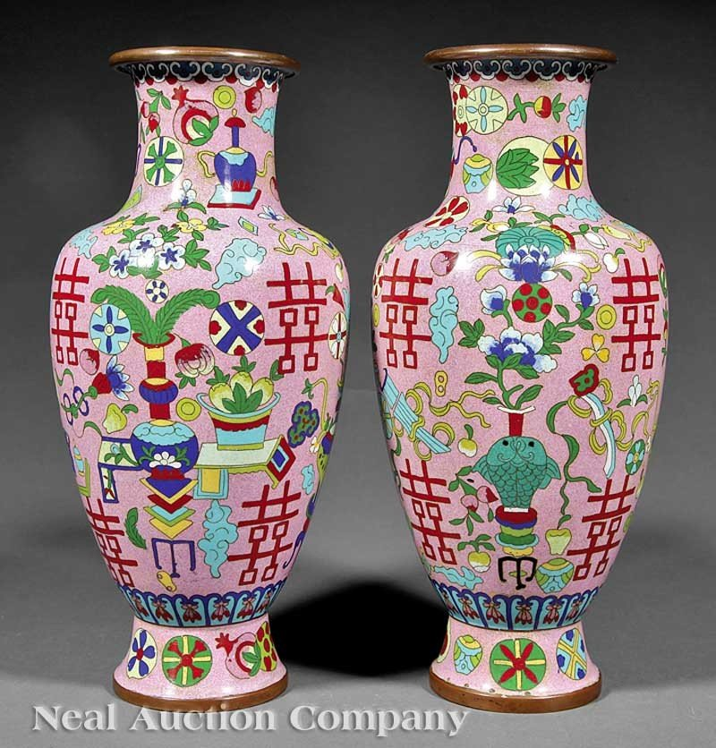 0607: Chinese Cloisonne Enamel Baluster Vases