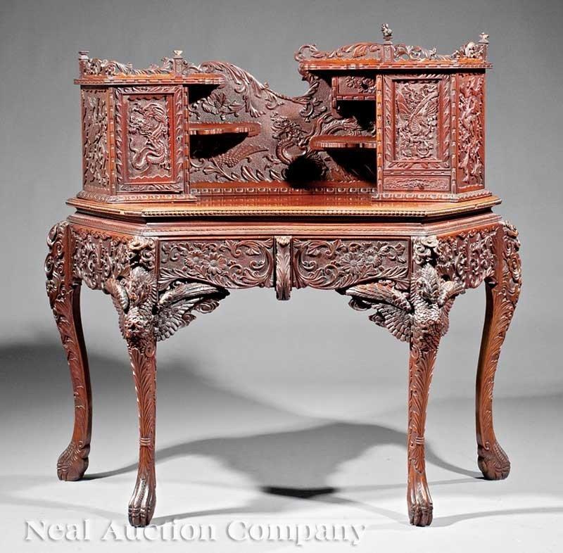 0714: Japanese Highly Carved Hardwood Writing Desk