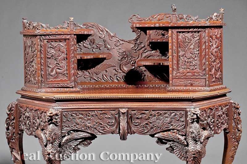 0714: Japanese Highly Carved Hardwood Writing Desk - 2