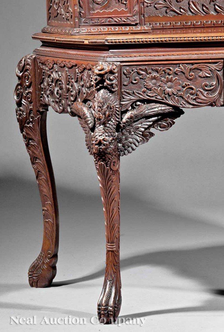 0714: Japanese Highly Carved Hardwood Writing Desk - 3