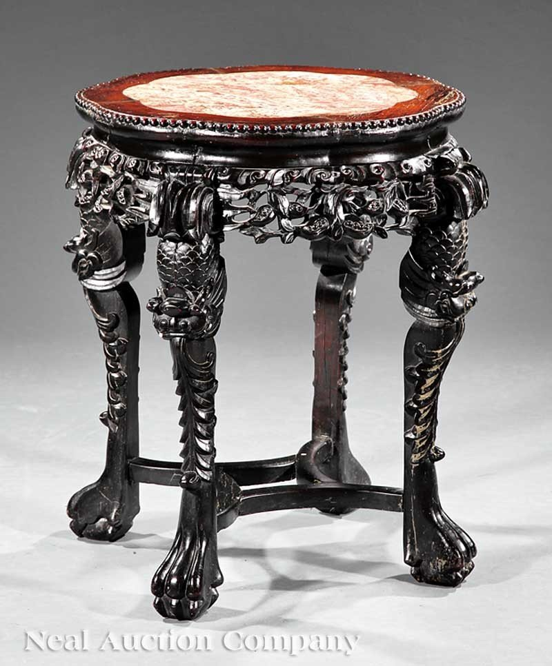0715: Chinese Carved Hardwood Tabouret