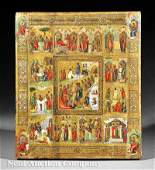 0754 Russian Orthodox Icon Scenes of Life of Christ