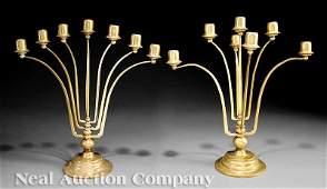 0825 Pair of Gilt Bronze SevenLight Candelabra