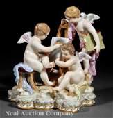 0942: Meissen Porcelain Polychrome, Gilt Figural Group