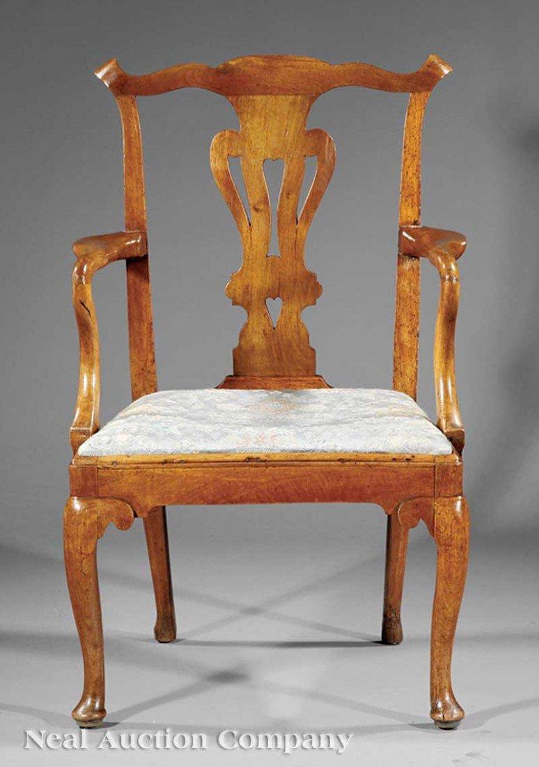 0003: George III Carved Walnut Armchair