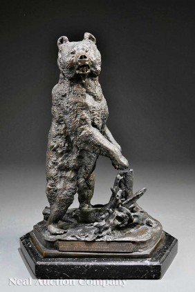 "0020: Russian Bronze of a ""Rearing Siberian Grizzly"""