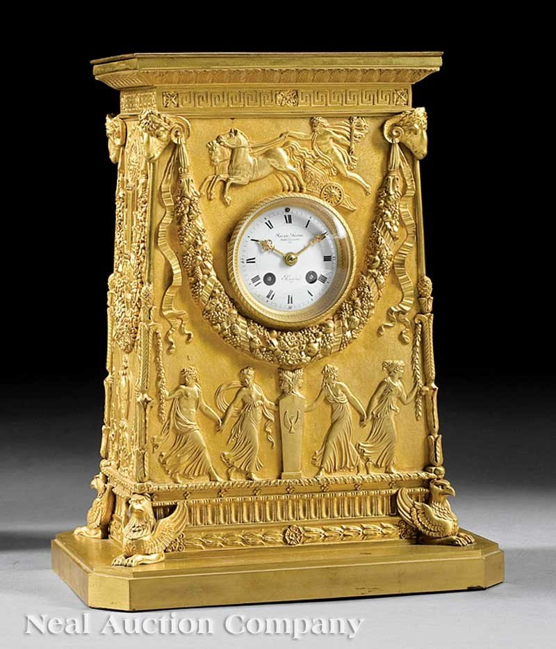 0025: Antique French Gilt Bronze Mantel Clock Susse