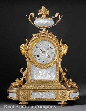 French P�te-sur-P�te, Ormolu-Mounted Mantel Clock
