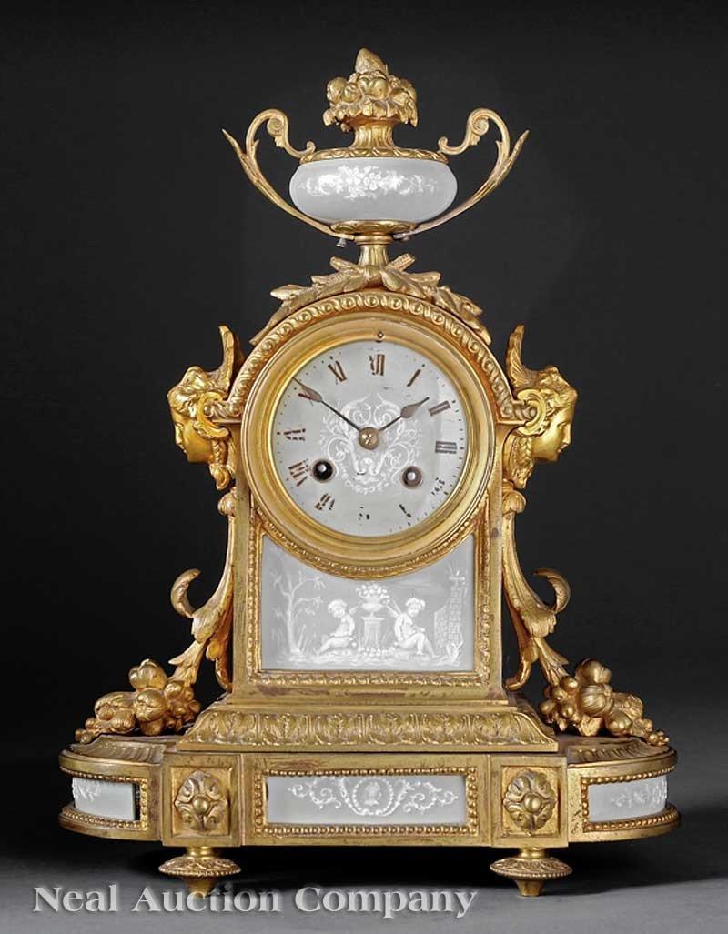 0026: French Pâte-sur-Pâte, Ormolu-Mounted Mantel Clock