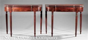 0028 American Federal Carved Mahogany Games Tables