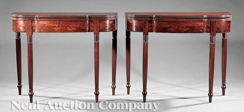 0028: American Federal Carved Mahogany Games Tables