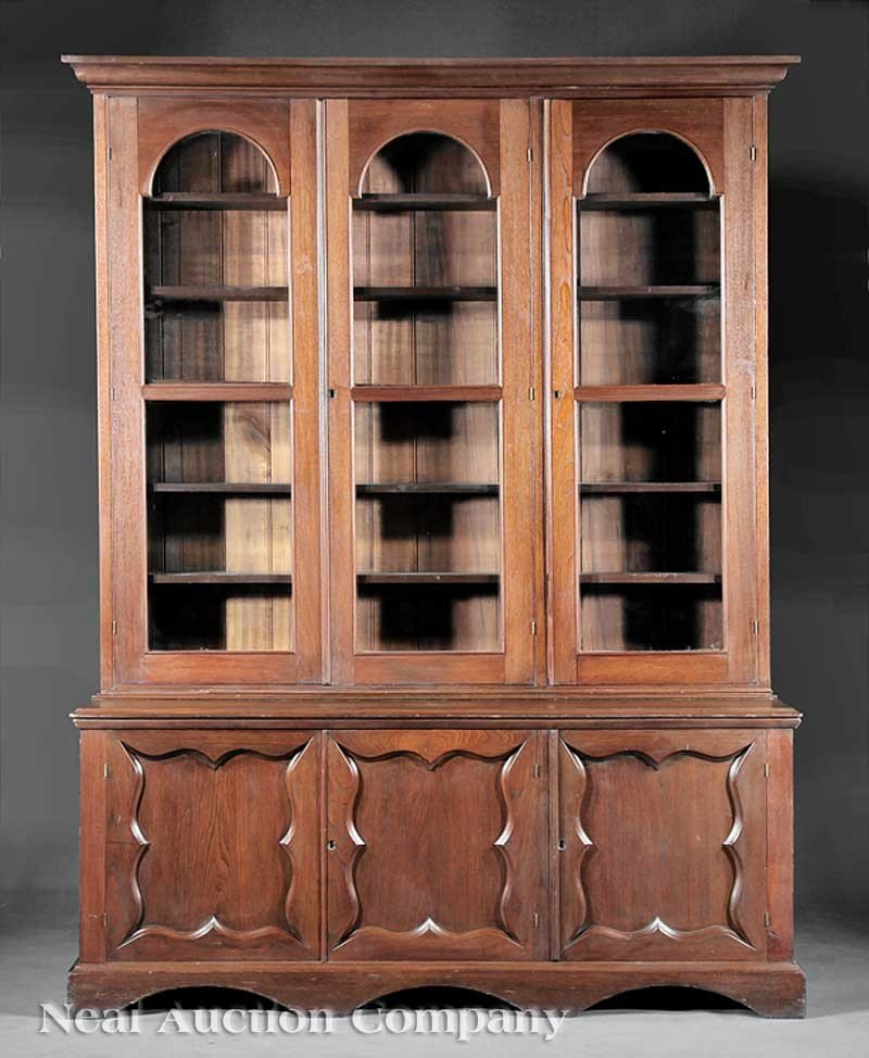 0029: American Late Classical Carved Walnut Bookcase