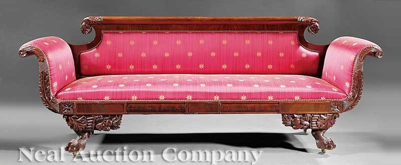 0030: American Classical Carved Mahogany Sofa