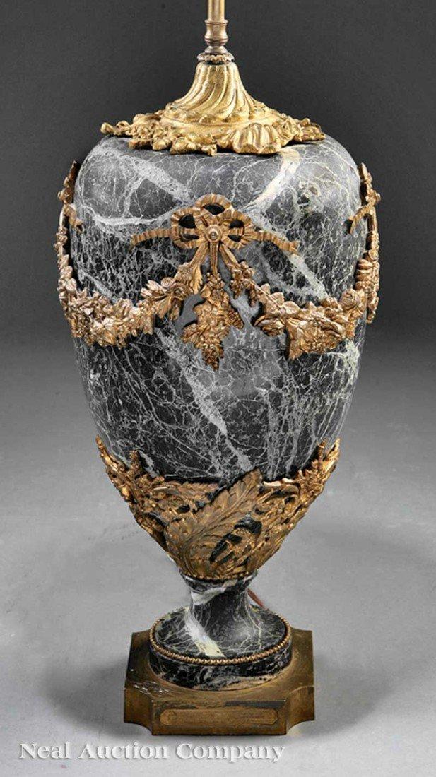 0046: Louis XVI-Style Gilt Bronze-Mounted Marble Vase