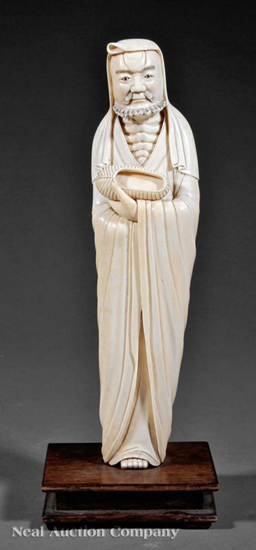 0617: Chinese Carved Ivory Figure of Luohan