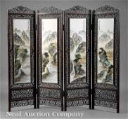 0634 Chinese PorcelainMounted Wood Floor Screen