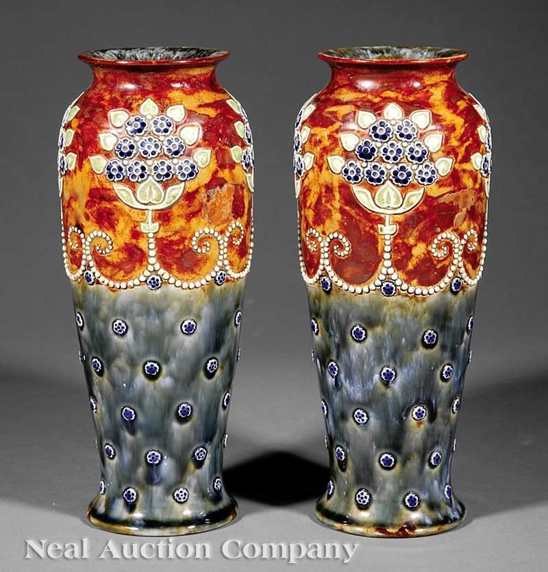 0697: Pair of Royal Doulton Pottery Vases