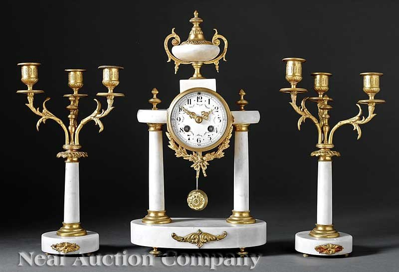0700: French Bronze-Mounted Marble Three-Piece Clock Ga