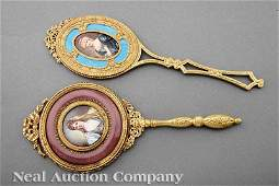0701: Two French Gilt Bronze and Enamel Hand Mirrors
