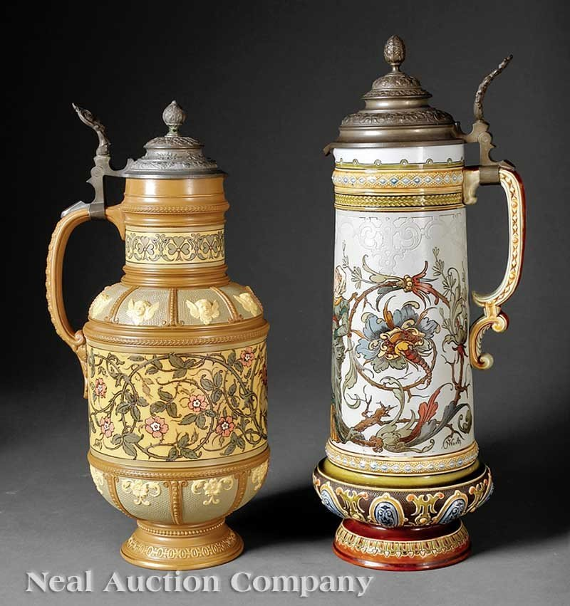 0702: Two Mettlach Polychrome and Pewter Lidded Steins