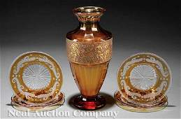 0758 Moser Enameled and Etched Amber Glass Vase