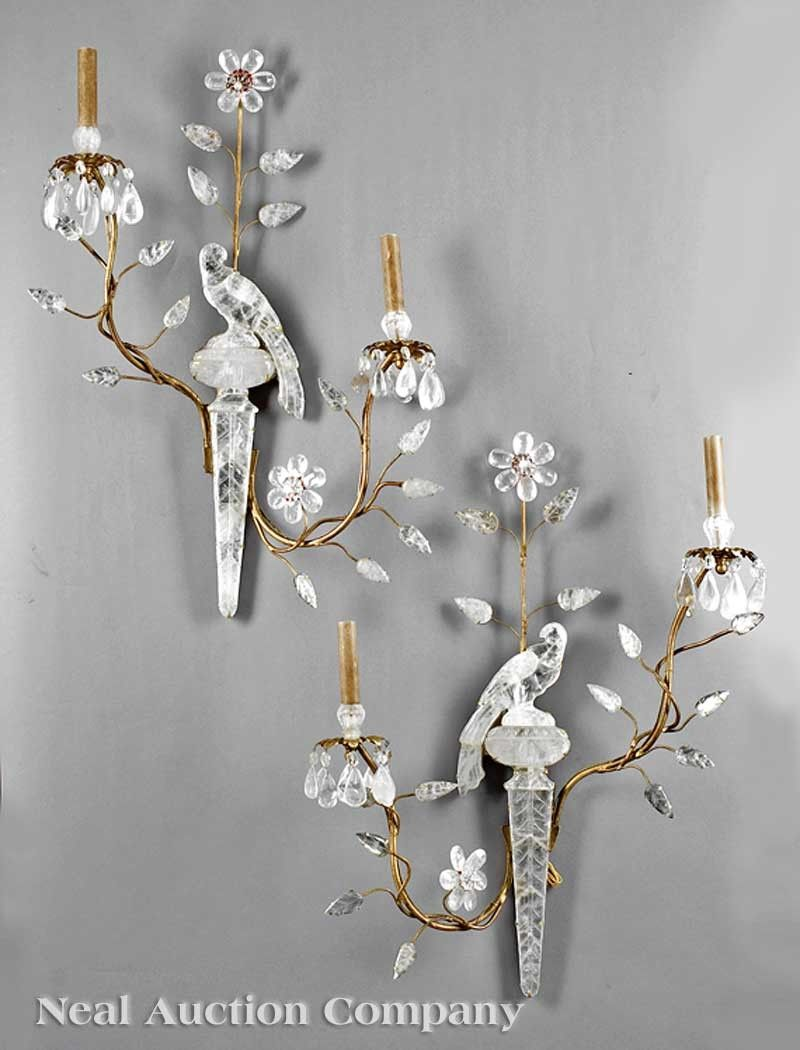 1107: Pair of Rock Crystal Two-Light Sconces
