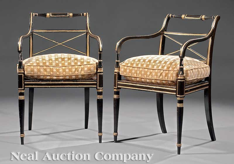 0001: Pair Regency Ebonized, Gilt-Decorated Armchairs