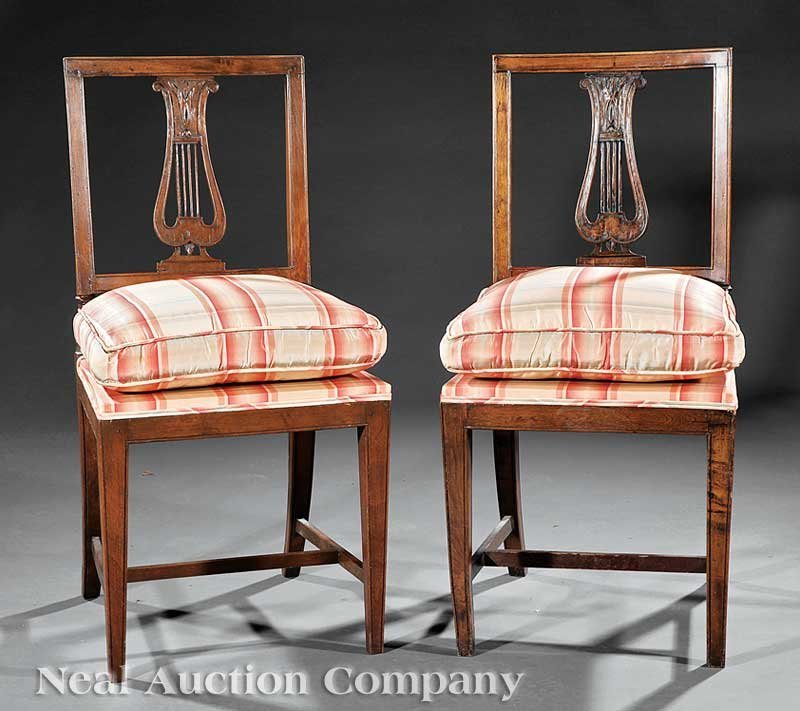 0004: Pair of Directoire Carved Fruitwood Side Chairs