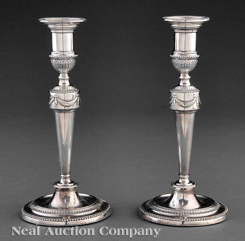 0005: Pair of Regency Sheffield Plate Candlesticks