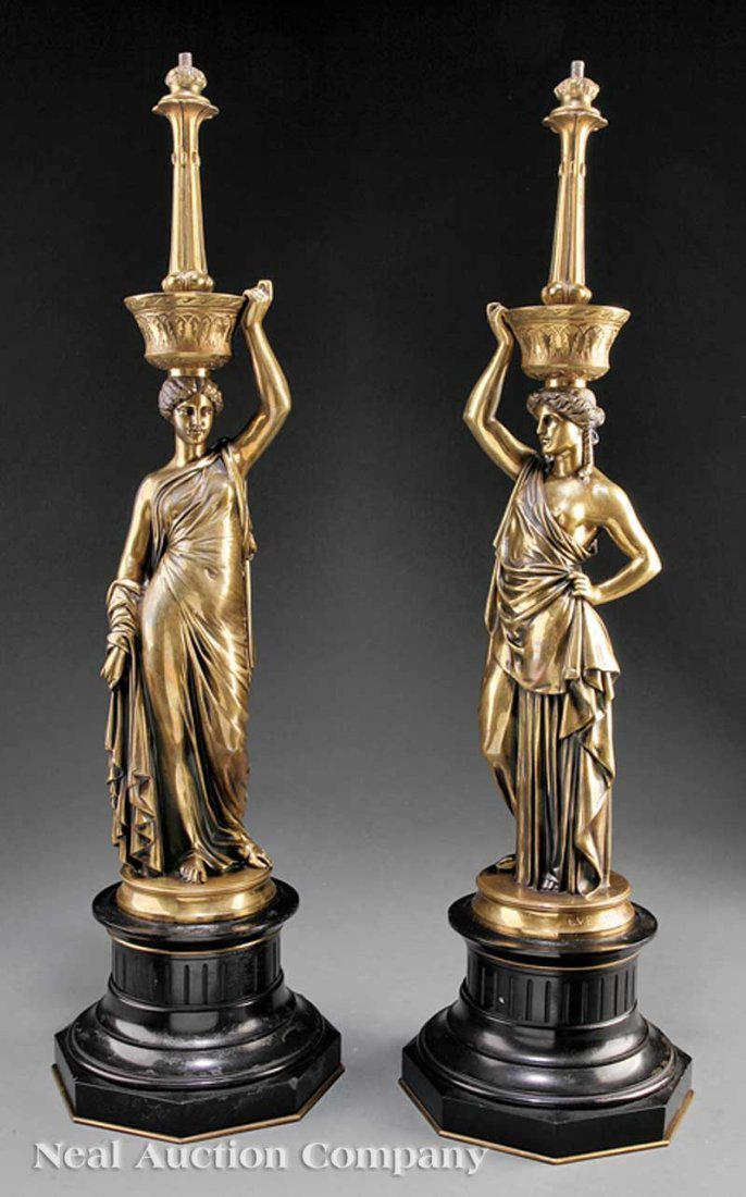 "0011: Gilt Bronze Figural Lamps, ""L.V.E. Robert"""