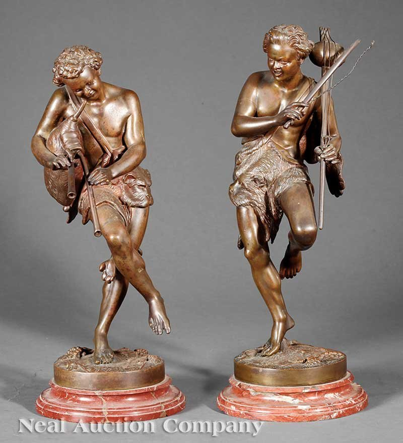 0013: Pair Antique Bronzes, Musician and Bagpiper