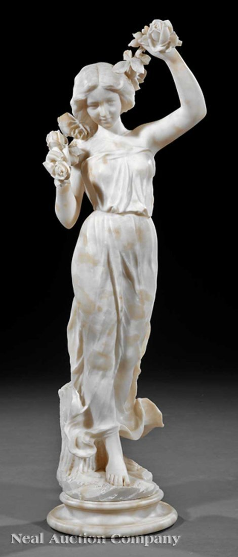 0015: Antique White Marble Figure, Nymph of Flowers