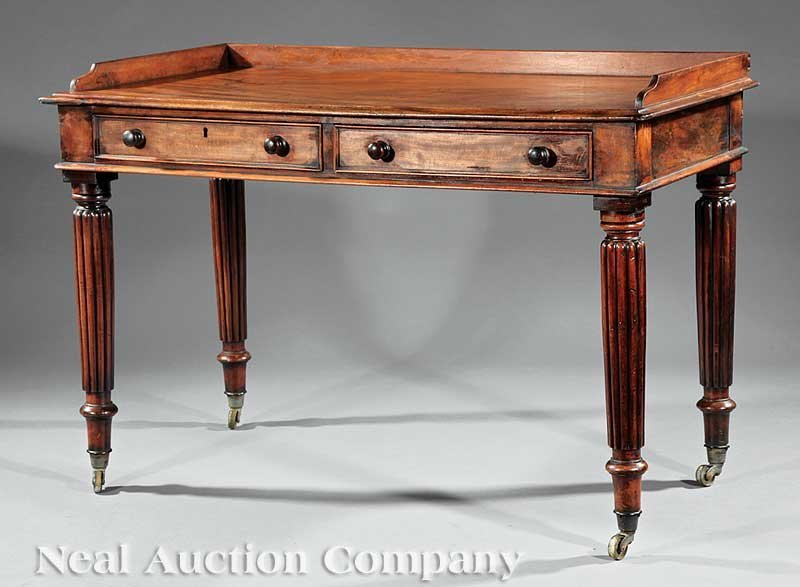 0017: William IV Carved Mahogany Writing Table