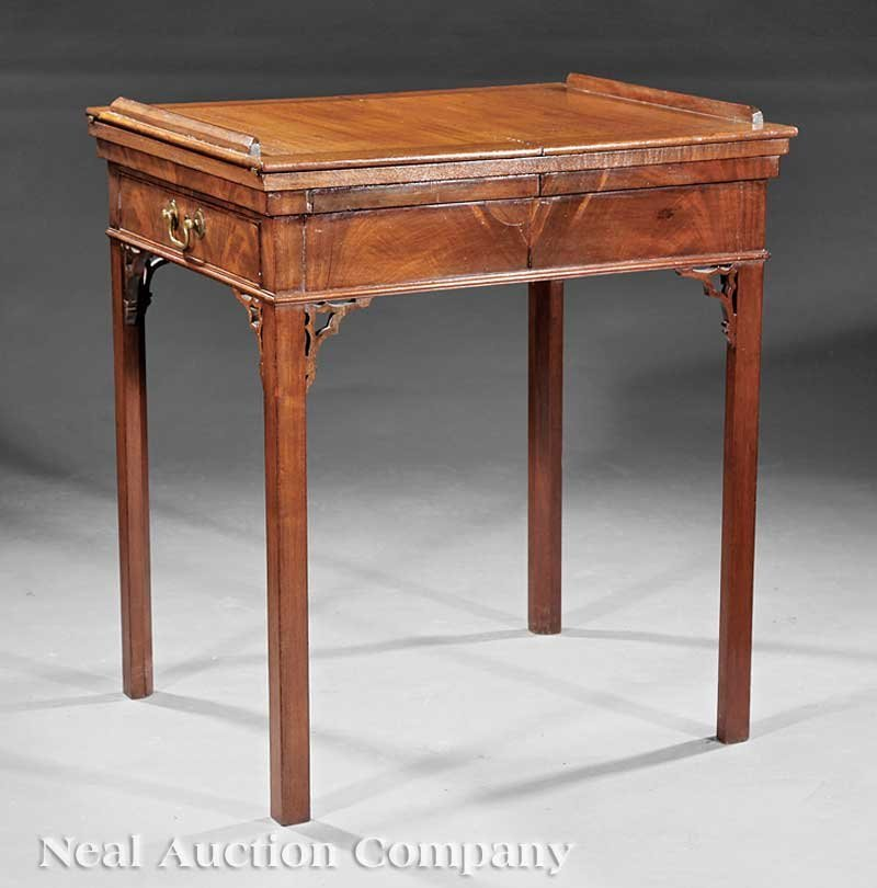0019: George III Carved Mahogany Architect's Desk