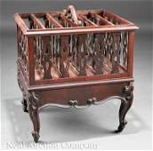 0365: American Rococo Carved Rosewood Canterbury