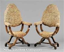 0405 Italian Carved Walnut Armchairs