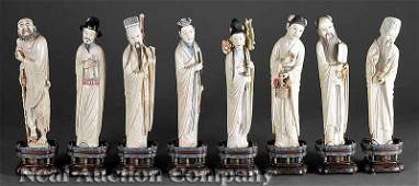 0660: Eight Chinese Stained Ivory Figures of Immortals