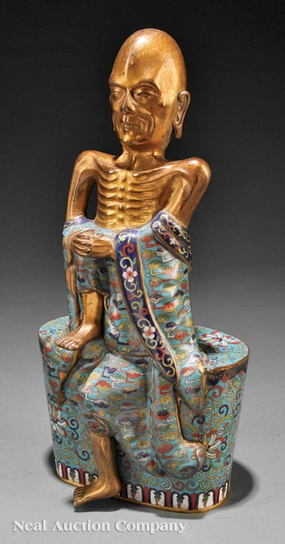 0674: Chinese Gilt Bronze and Cloisonne Enamel Luohan