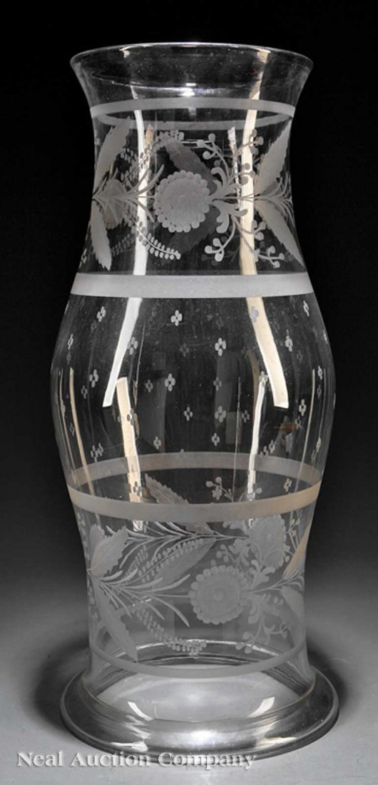 0828: Etched Blown Glass Hurricane Shade