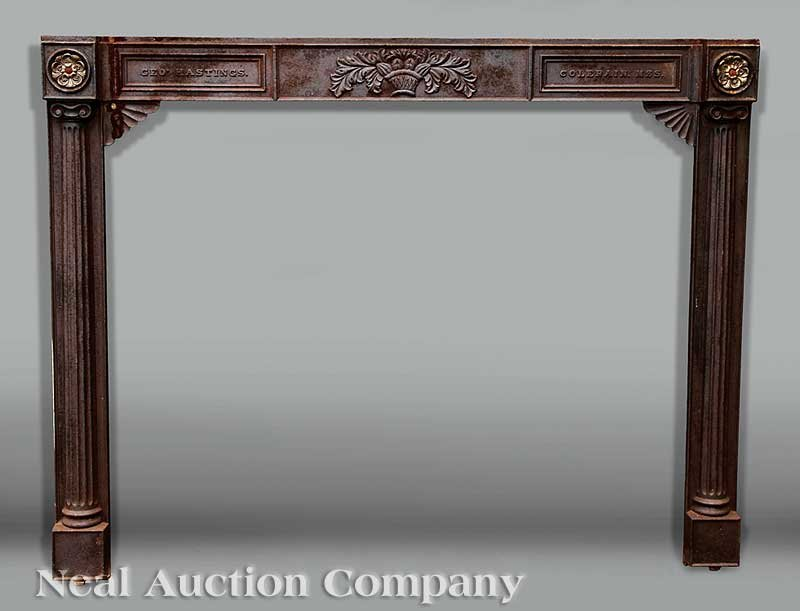 0829: Cast Iron and Gilt Bronze Mounted Partial Mantel