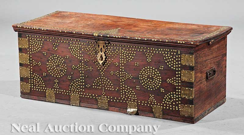 0832: Ottoman Brass-Mounted Carved Teak Dowry Chest
