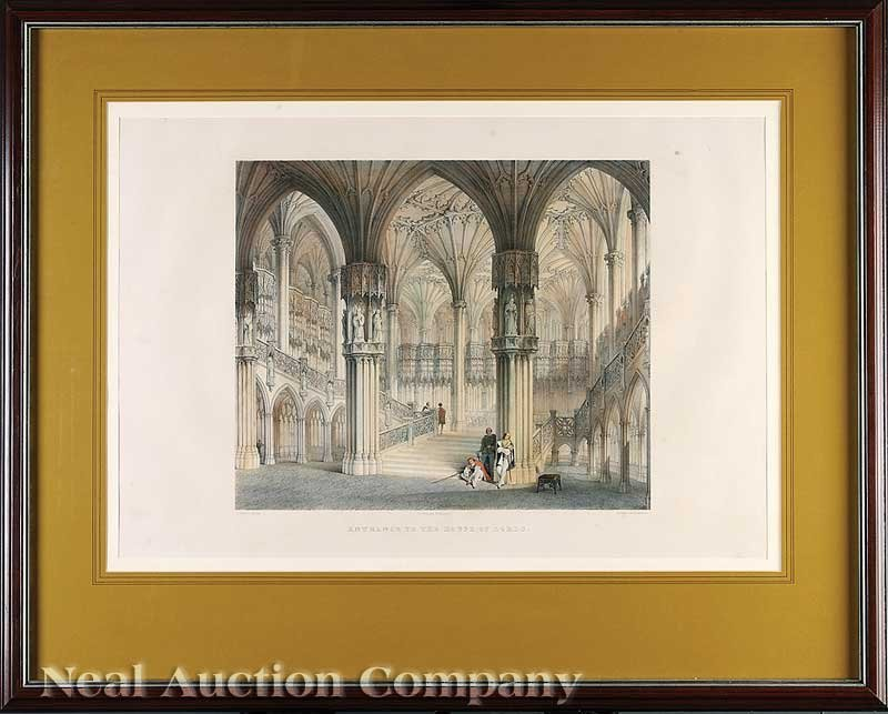 0840: Two English Hand-Colored Architecture Prints