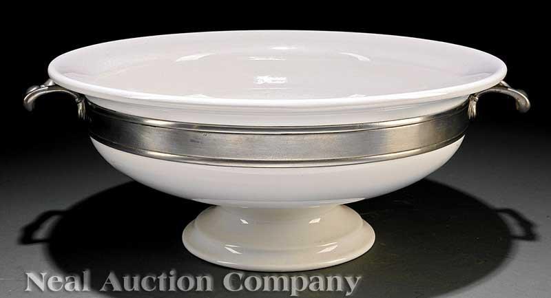 0843: Italian Pewter-Mounted Ceramic Center Bowl