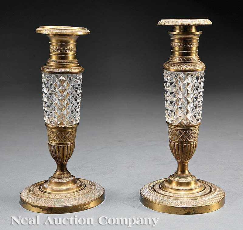 0846: Two Bronze and Cut Crystal Candlesticks
