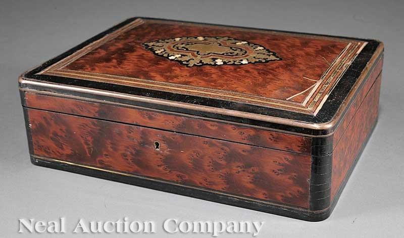 0847: Thuyawood, Ebonized, Brass, Inlaid Gaming Box