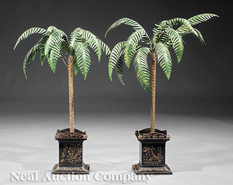 0848: Pair of Tole Peinte Palm Trees